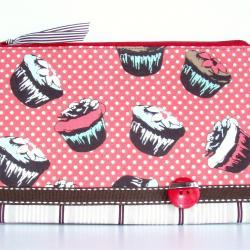 Cupcake Lovers Pouch Retro Style Brown Orange Blue