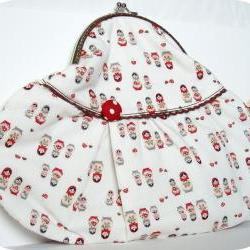 Hand purse Russian dolls - red and white
