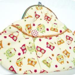 Hand purse colourful owls - yellow